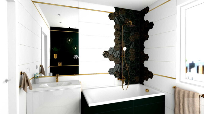 projekt łazienki płytki heksagon